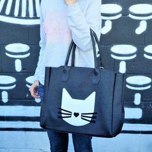 Pink Haley black vegan leather cat tote